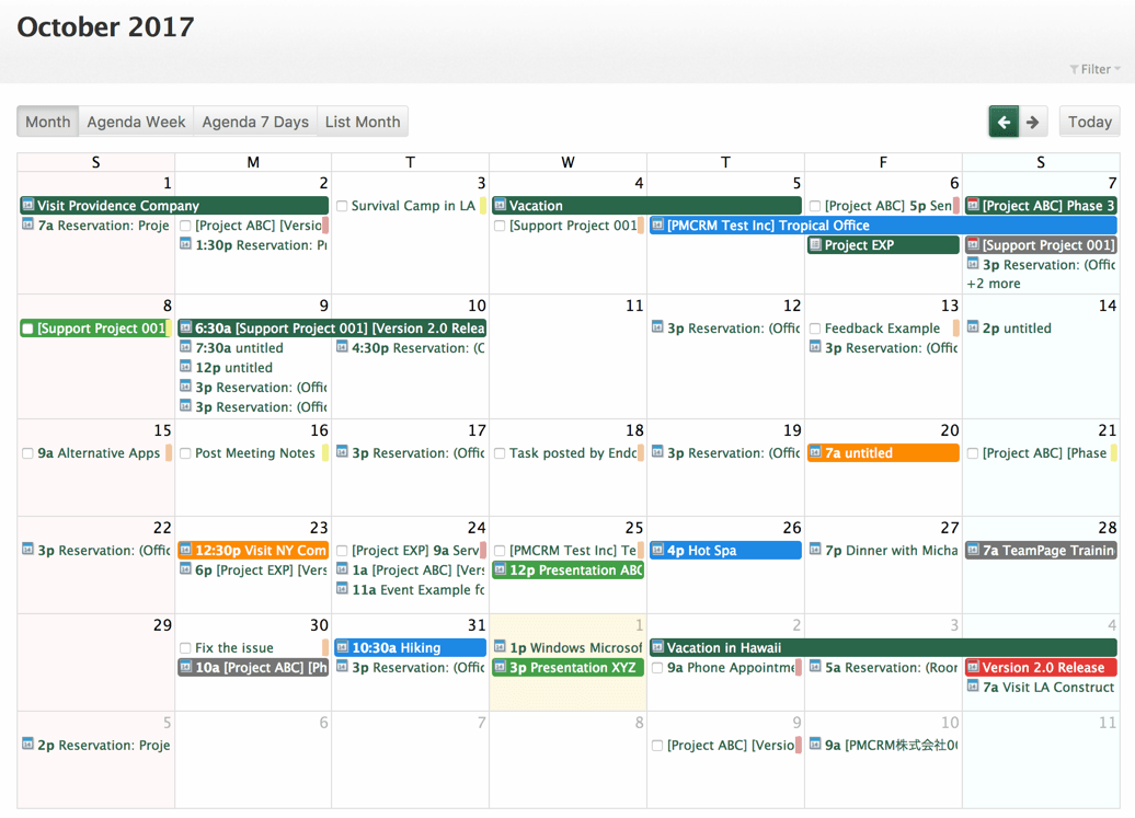 Example FullCalendar Basic Month View